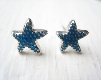Tiny starfish earrings, starfish stud earrings, blue starfish, blue enamel starfish, ocean animals, starfish posts, sea animal, aquatic