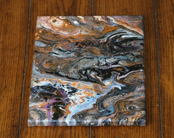 Abstract Acrylic Flow Painting - The Orange Rock