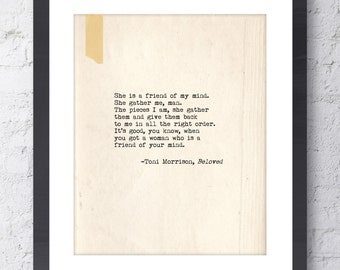 Toni Morrison Beloved Quote. Inspirational Art Print. Typographic Print. Typewriter Series no.7. BFF, Friendship Gift. Wall Art. Wall Decor.