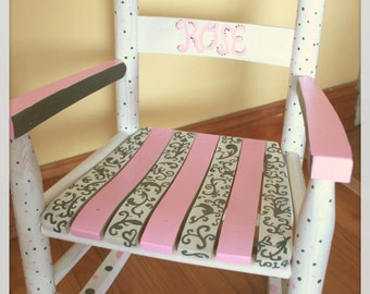 Child Rocking Chair- Kid Rocking Chair- Small Rocker- Pink and Grey- Personalized Hand Painted Rocking Chair