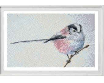 Long Tailed Tit Cross Stitch Pattern PDF ** Instant Download **
