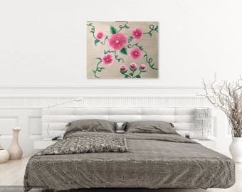 Pink Canvas Flowers