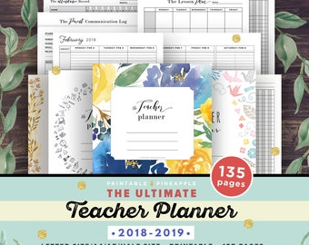 Teacher Planner 2018-2019, Lesson Planner Printable, Academic Planner, classroom roster, agenda, letter paper plan, A4 A5 Half Editable PDF