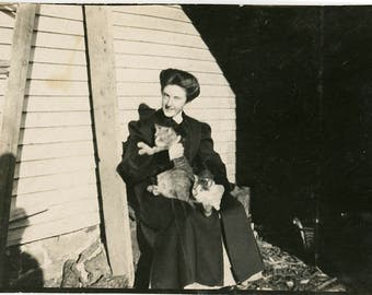 vintage photo 1915 Young Girl Holds Two Cats in Lap Winter shadows