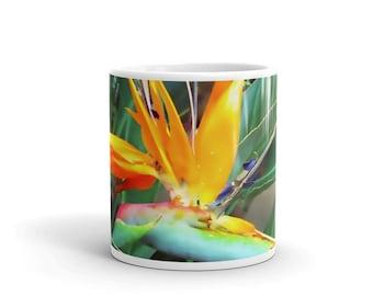 Mug, Bird of Paradise Mug, Tropical Mug, Plant Mug, Gardener Mug