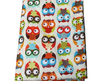1 m cotton fabric 100% OWL pattern - Coupon 160x100cm