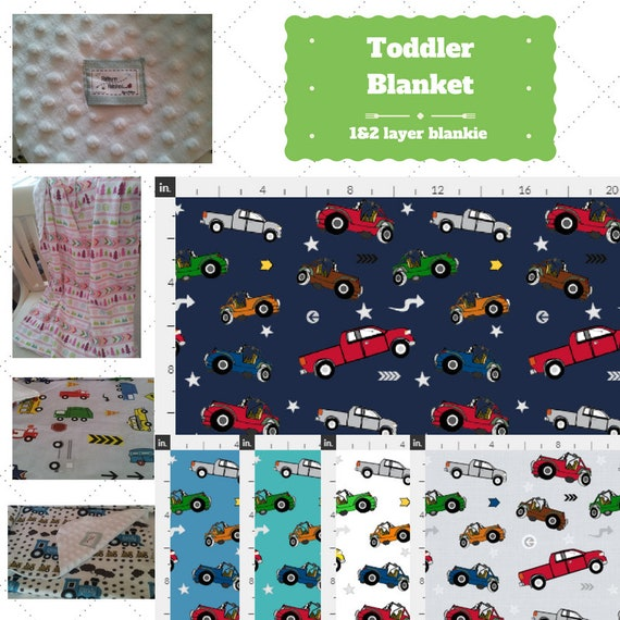 Toddler / Baby Blanket - Jeeps & Pickup Trucks - organic cotton, minky blanket, 24x32 Newborn, 32x50 Toddler Kids Blanket