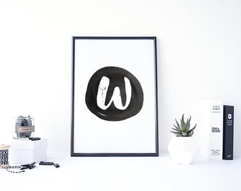 "W Monogram Printable - 8.5"" x 11"" Digital Art Print"