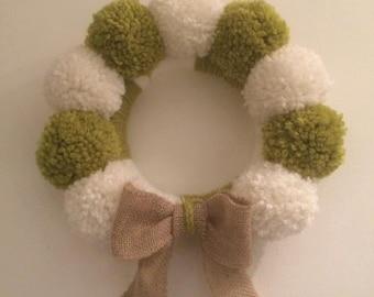 Pompom Christmas Wreath handmade