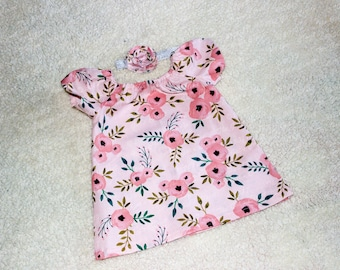 Pink Floral Peasant Dress