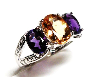 "Citrine ring citrine, 3 stone ring,citrine amethyst ring, anniversary ring, mothers ring s 6 3/4  ""Petticoat Junction"""