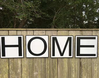 HOME sign, Fixer Upper Inspired Signs,4-16x16, Rustic Wood Signs, Farmhouse Signs, Wall Décor