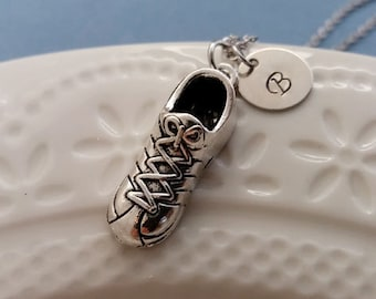 Running Shoe Necklace. Sport Necklace. Silver Running Shoe Charm. Initial Necklace. Sport Necklace. Hand Stamped Necklace. Runner Necklace