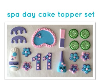 fondant, spa birthday, spa day, spa, cake topper, birthday cake topper, spa birthday topper, cupcake topper, cake decor, cake topper,