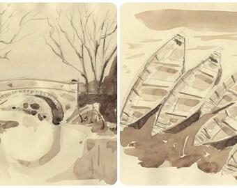 LOT two Sepia original pencil and watercolor paintings paper home decor original ship bridge wall art original sepia wall landscape sepia