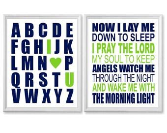 Baby Boys Room Decor, Navy and Lime Green Baby Nursery Art Print Set - I Love You Alphabet, Bedtime Prayer - Now I Lay Me Down to Sleep