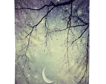 Starry Night Sky Wall Hanging. Wall Art. Tapestry. Blue night sky. Stars and Moon. Dorm Decor. Girly Home Dreamy Photography. Silver