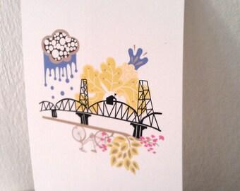 Hawthorne Bridge Portland 5X7 Print