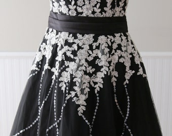 Vintage Style Black floor length A-Line lace Wedding Dress Bridal Gown made with Lace Tulle accented with Hand-Beaded Bolero-L'Amei Bridal