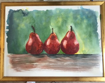 small origianl watercolor painting, pears, framed
