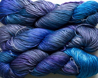 Silk Bamboo, Hand painted yarn, 225 yds - Night Sky