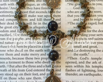 Chaplet to Stella Maris Our Lady Star of the Sea bronze star beads, Blue Goldstone beads, and Our Lady of Mt Carmel center