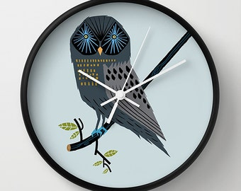 The Perching Owl - grey illustrated wall clock - by Oliver Lake