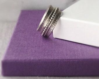 Silver Spinner Ring | Sterling Silver Fidget Ring | Silver Worry Ring | Chunky Ring | Wide Band Ring | Statement Ring | Silver Jewellery UK