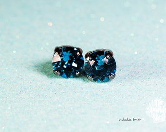 Indicolite Swarovski Black Stud Earrings - 8mm