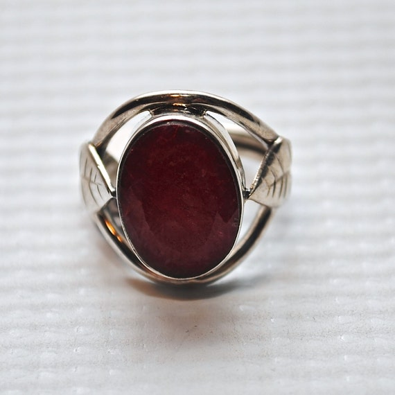 Sterling Silver Indian Ruby Ring Sz 4.5 #4324