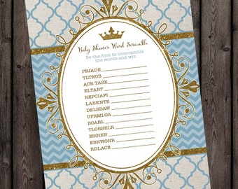 light blue and gold Baby shower word scramble, royal baby boy shower games, instant download at purchase, royal prince baby shower game