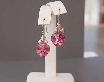 Pink Heart Earrings - Pink Swarovski Crystal Earrings - Mothers Day Gift