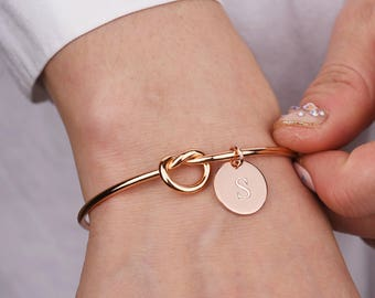 Personalized Gift Bridesmaid Gift for Her Knot Bracelet bridesmaid bracelet for women Inspirational bracelet Tie the Knot graduation gift