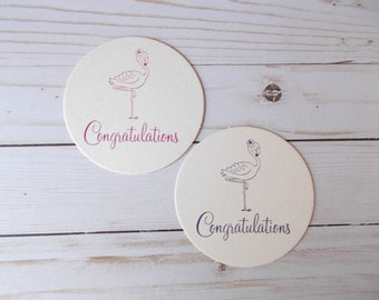 Congratulations Coasters, Flamingo Paper Coasters, Hand Stamped Drink Coasters, Pink Flamingo, Party Table Decor