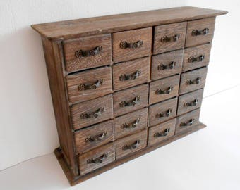 Wooden Drawers Box  20 Drawers  Jewelry Chest Of Drawers  Apothecary Cabinet   Desktop Organizer   Trinket Storage  Cabinet Box  Trinket Keep