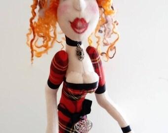Art doll Fabric Cloth doll,Rag Scottish Boudoir, Textile Art, Collectors art