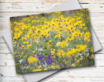 Wildflower Note Card, Flower Note Card, Thank You Card, Thinking of You Card, Sympathy Card, All Occasion Card, Floral Stationery, Yellow