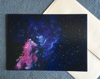PURPLE GALAXY All Occasions Greeting Card purple pink nebula galaxy outer space cosmos stars