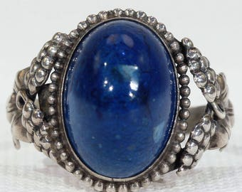 Antique Sterling Silver Swiss Lapis Ring Grape Motif