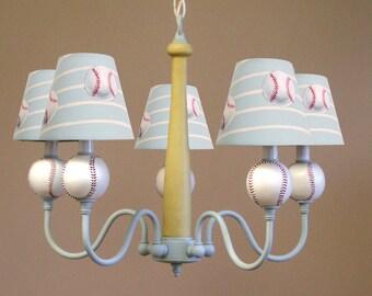 "Baseball ""HOMERUN"" 5 Light Chandelier Perfect for Boys Bedroom, Nursery or Playroom"
