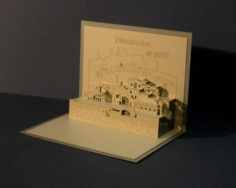 3D Pop Up Greeting Card, Architectural ORIGAMI, Holy Land, Jerusalem, JUDAICA, Laser Cut