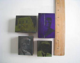 Set of 4 vintage printer's blocks and plates. Photos of people, building.  printmaking plates printing blocks stamps photos.