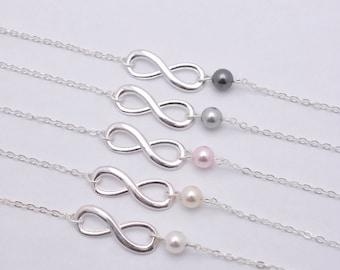 Set of 4 Bridesmaid Infinity Bracelets, 4 Infinity and Pearl Bracelets, Sterling Silver Bracelet 0217