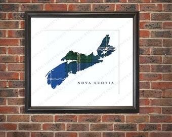 Nova Scotia map, Nova Scotia map tartan, personalized, gift, birthday, wedding, anniversary, new home, house warming