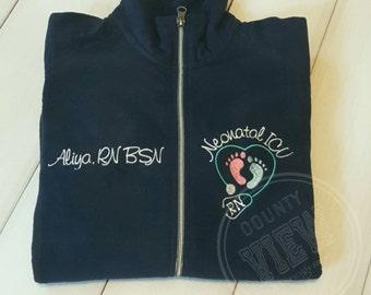 Neonatal ICU Nurse Fleece Jacket with FootPrints Stethoscope -RN Lpn zipup light weight fleece jacket with several color options-KAYLEIGH