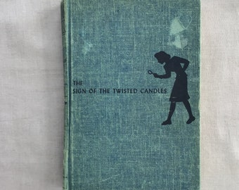 1933 Nancy Drew The Sign of the Twisted Candles #9 Mystery Story by Carolyn Keene, Publisher: Grosset & Dunlap, Vintage Blue Tweed Hardcover