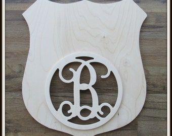 """Badge Door Hanger with Monogram Letter - Unpainted Wood - 22"""" size - Family - Police - Fire Fighter - Shield - Wooden Letter - Wall Hanging"""