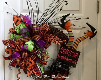 Halloween grapevine wreath, Halloween wreath, witch wreath, Halloween door decor, front door wreath