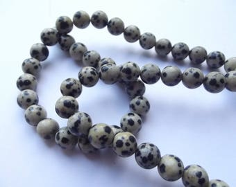 48 smooth round beads with natural Dalmatian Jasper 8 mm CHEBAR 539