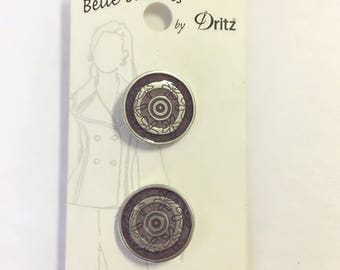 Belle Buttons By Dritz Medium 20mm ( 13/16 inches) Antique Silver and Purple Metal Buttons BB612